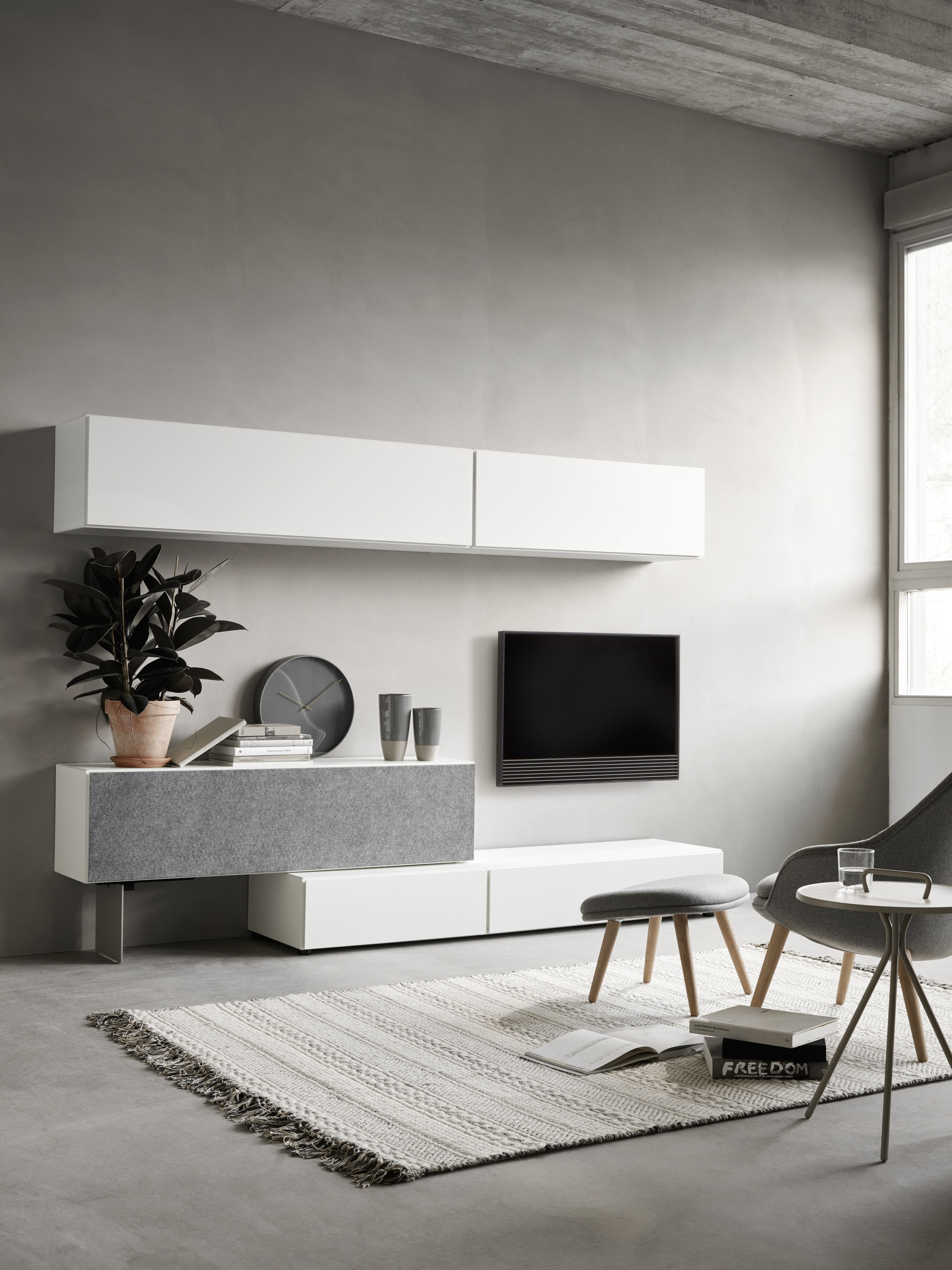Modern storage tv units White design living room Biały zestaw tv ...
