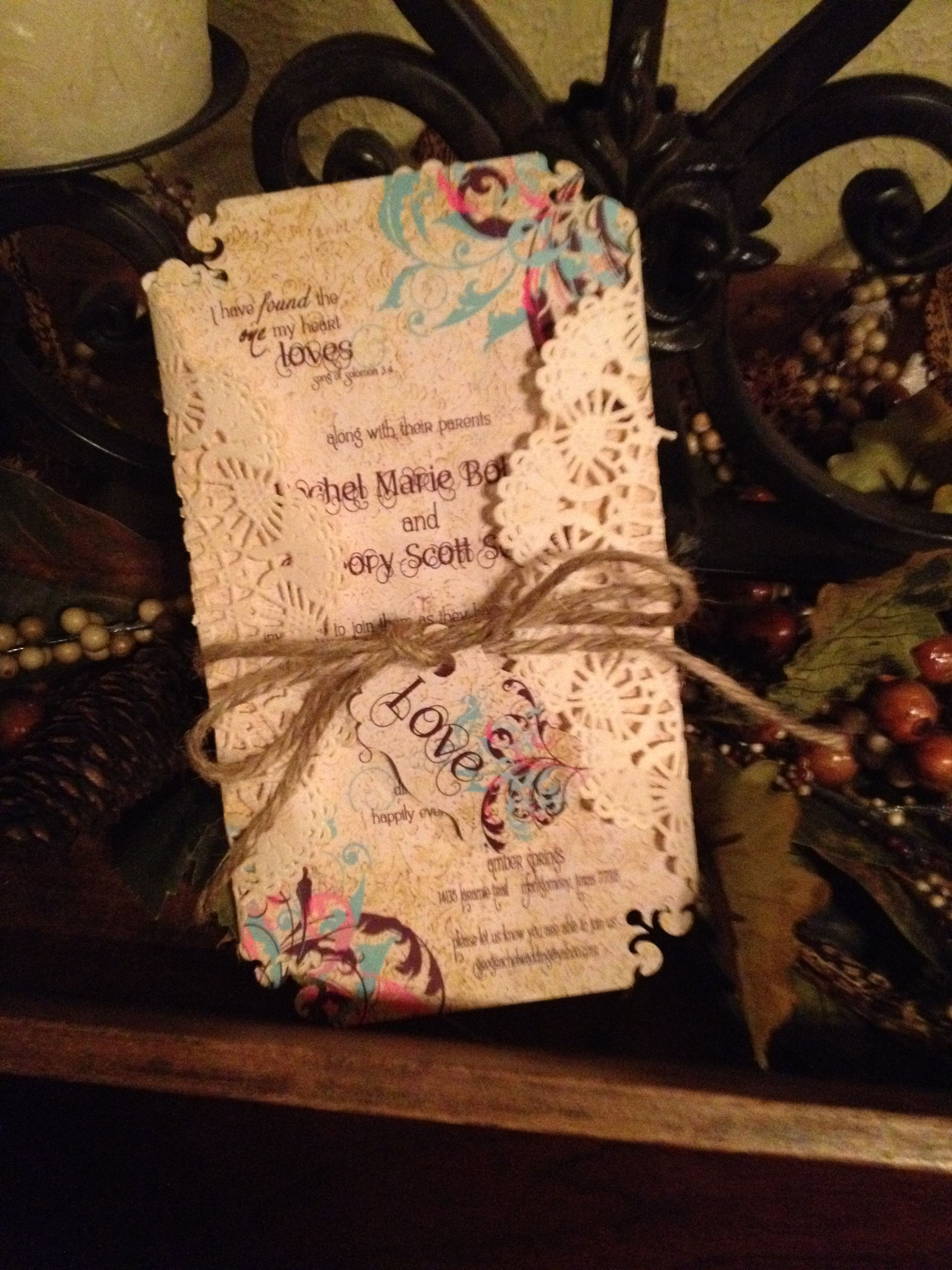 Diy invite i made using tea stained doilies as a jacket precious