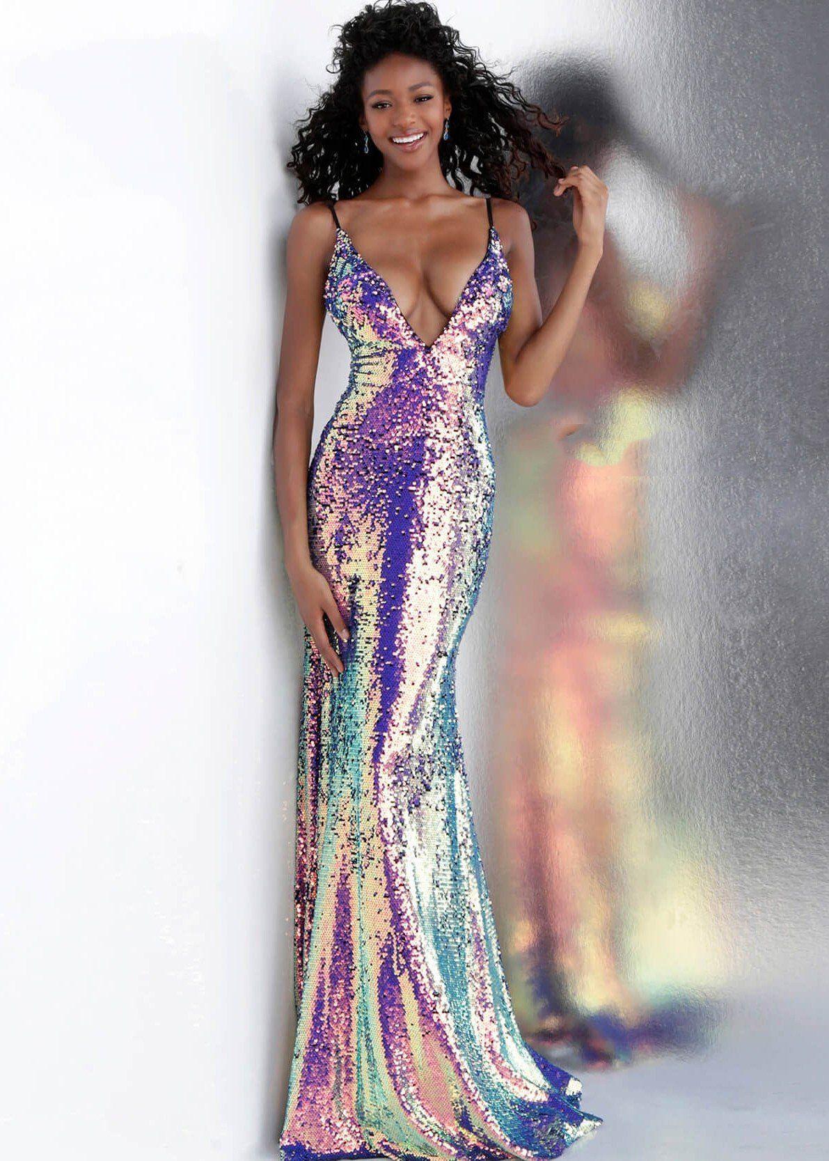 35026e79a88e Jovani 67318 Sexy Plunge V-Neck Multi Color Sequin Gown - Prom Dresses