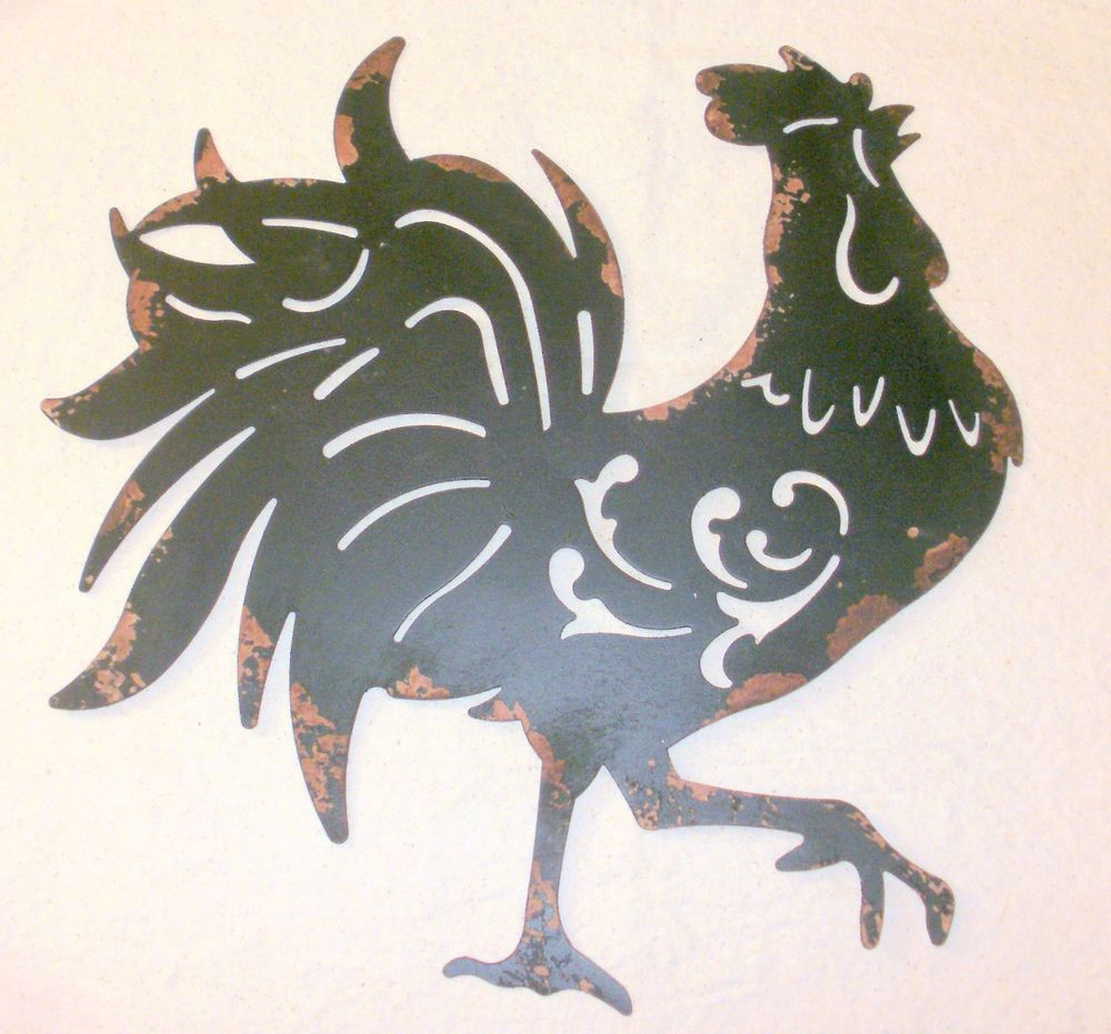 Details About New Distressed Black Sheet Metal Rooster Wall