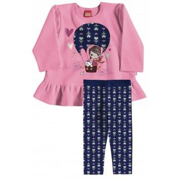 4eaed637f8 Conjunto Infantil Menina Casaco moletom peluciado e leggin cotton Kyly.  Moda bebê