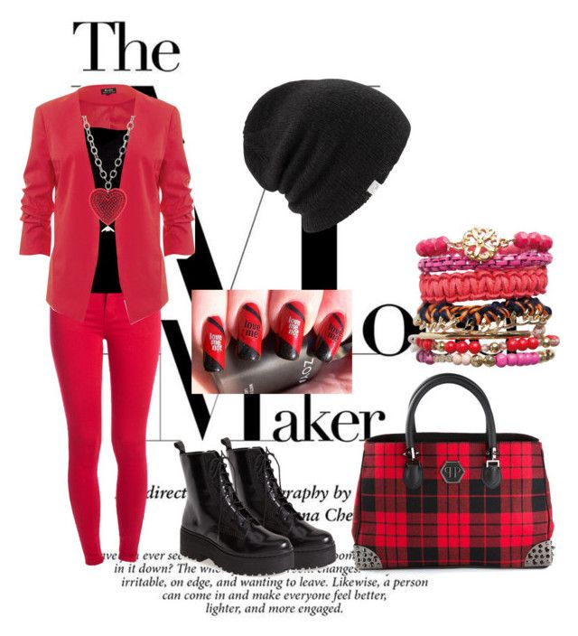 """red and black :)"" by rabija-salkic-imamovic ❤ liked on Polyvore featuring Jeffrey Campbell, Pieces, James Perse, Coal, Philipp Plein and Tarina Tarantino"