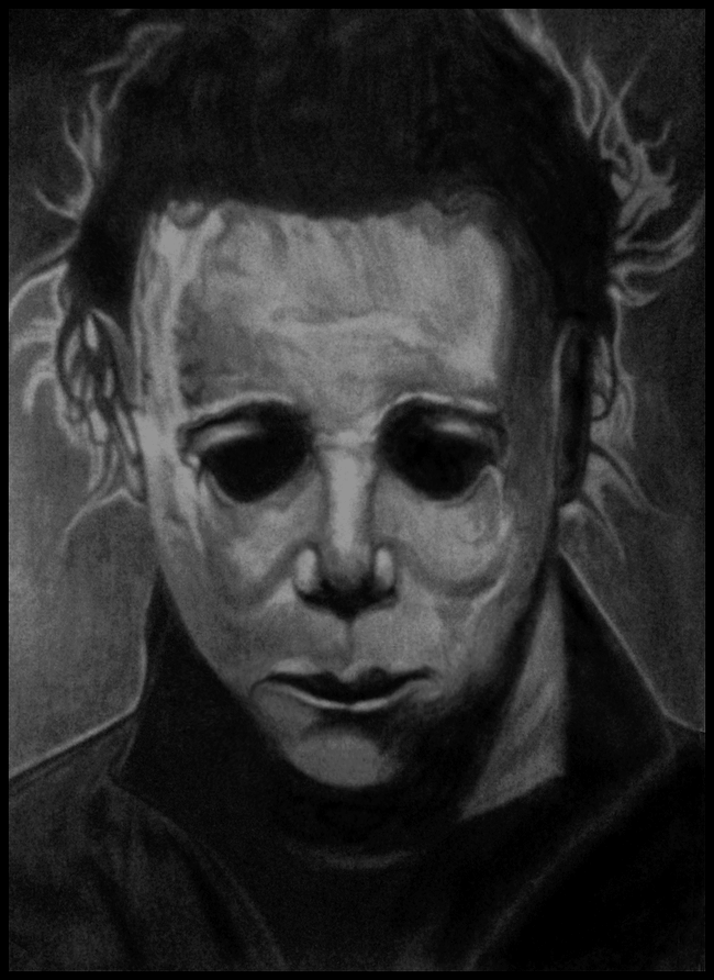 Black And Gray Shaded Michael Myers Sketch Michael Myers