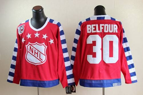 Blackhawks #30 ED Belfour Red All Star CCM Throwback 75TH Embroidered NHL  Jersey
