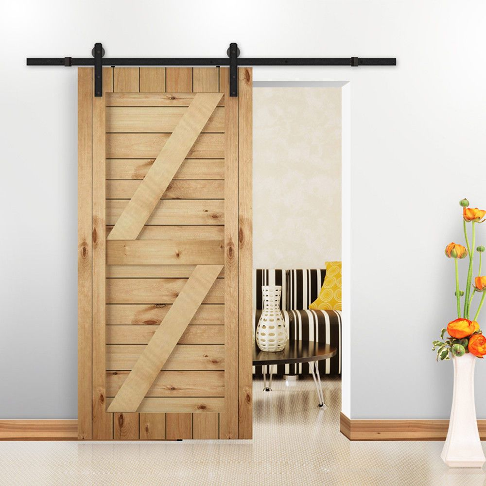 5 8 10 16ft Carbon Steel Antique Sliding Barn Door Hardware Flat Track J Style Wood Barn Door Barn Doors Sliding Sliding Door Hardware