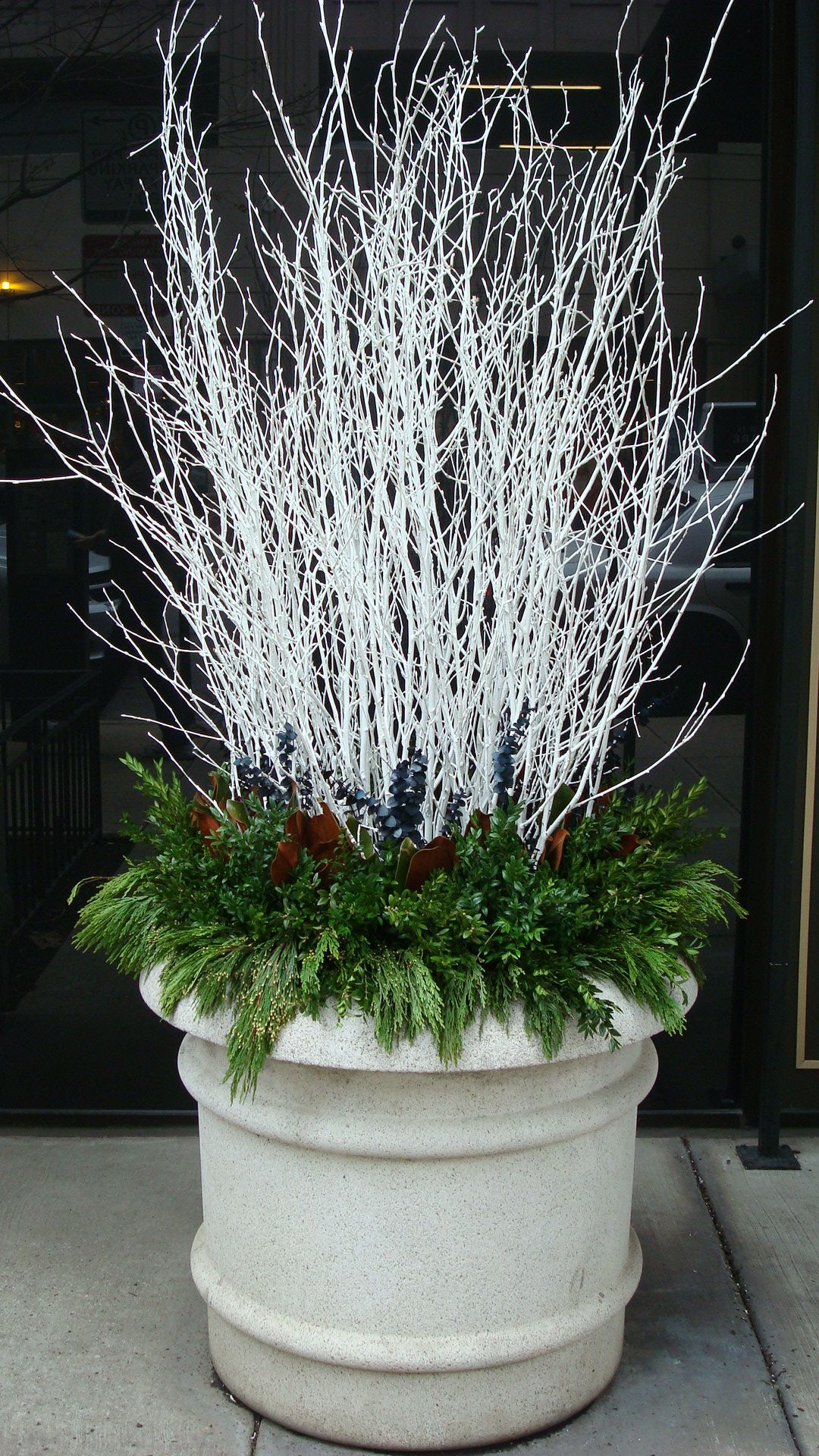 Winter holiday container display white branches and green for Large outdoor christmas decorations for sale