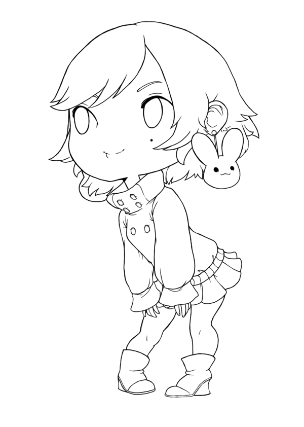 Chibi Line Art By Qeius On Deviantart Anime Lineart Chibi Chibi Coloring Pages
