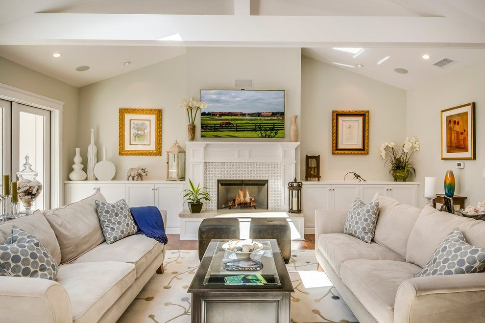 Image result for fireplace vaulted ceiling cabinets