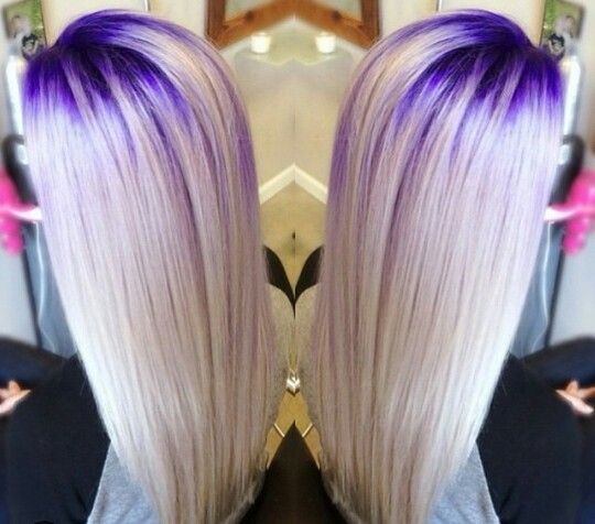 Blonde hair with Purple roots
