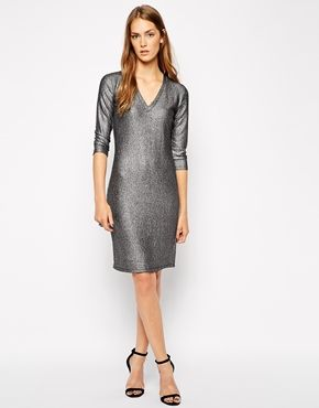 a6b2ca8dbd Supertrash Dress in Foil with Wrap Skirt Detail at asos.com