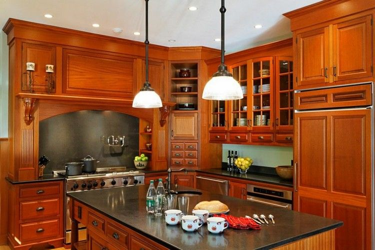 cocina moderna muebles madera isla encimera negra ideas   Interiores ...