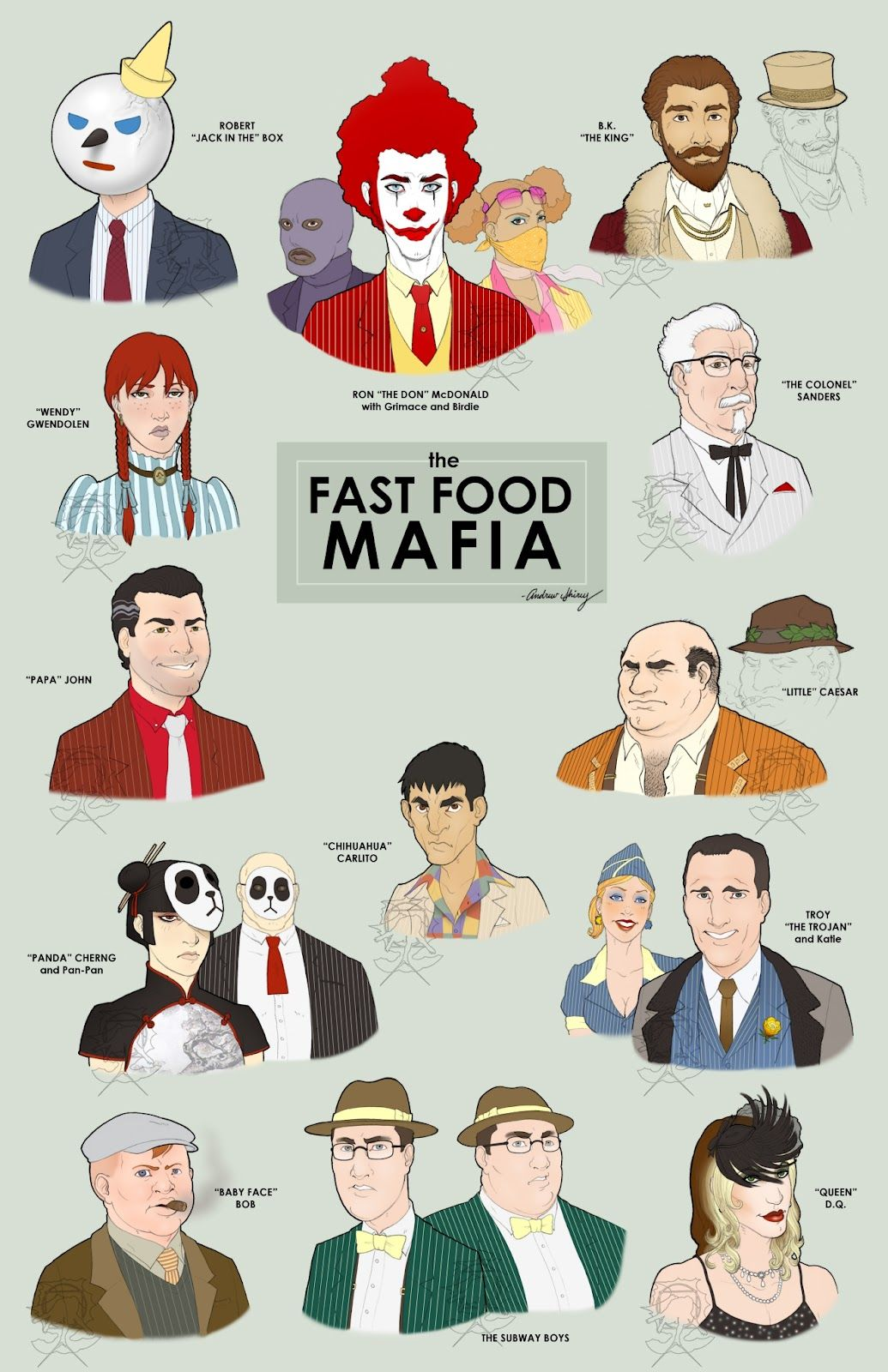 Fast Food Mascots As Gangsters Funny Pictures Funny Mafia