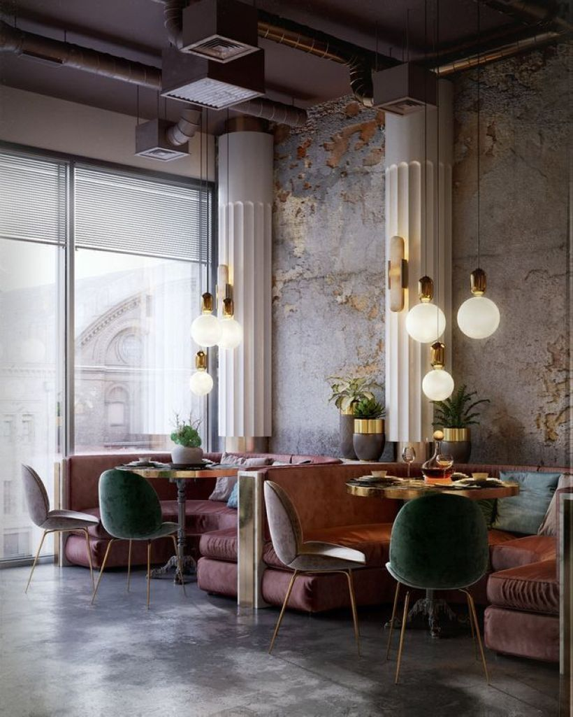 Small restaurant design rustic interior pink layout classic also buena vida in rh pinterest