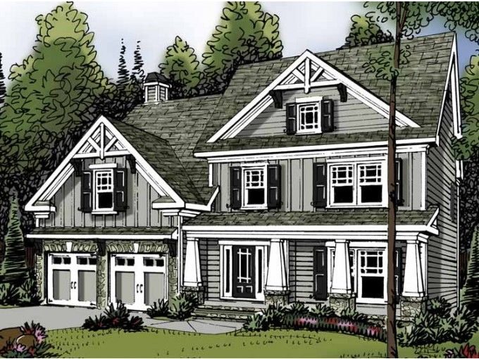 2 story upstairs laundry craftsman cottage style for Traditional craftsman house plans