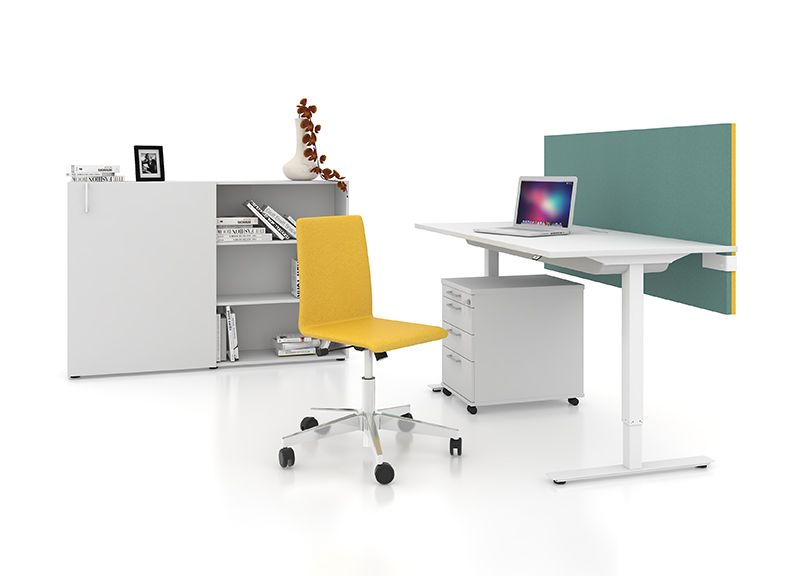 ONE Sit Stand Desk, NOVA Pedestal And Cabinet, MODUS Acoustic Screen And  MOON