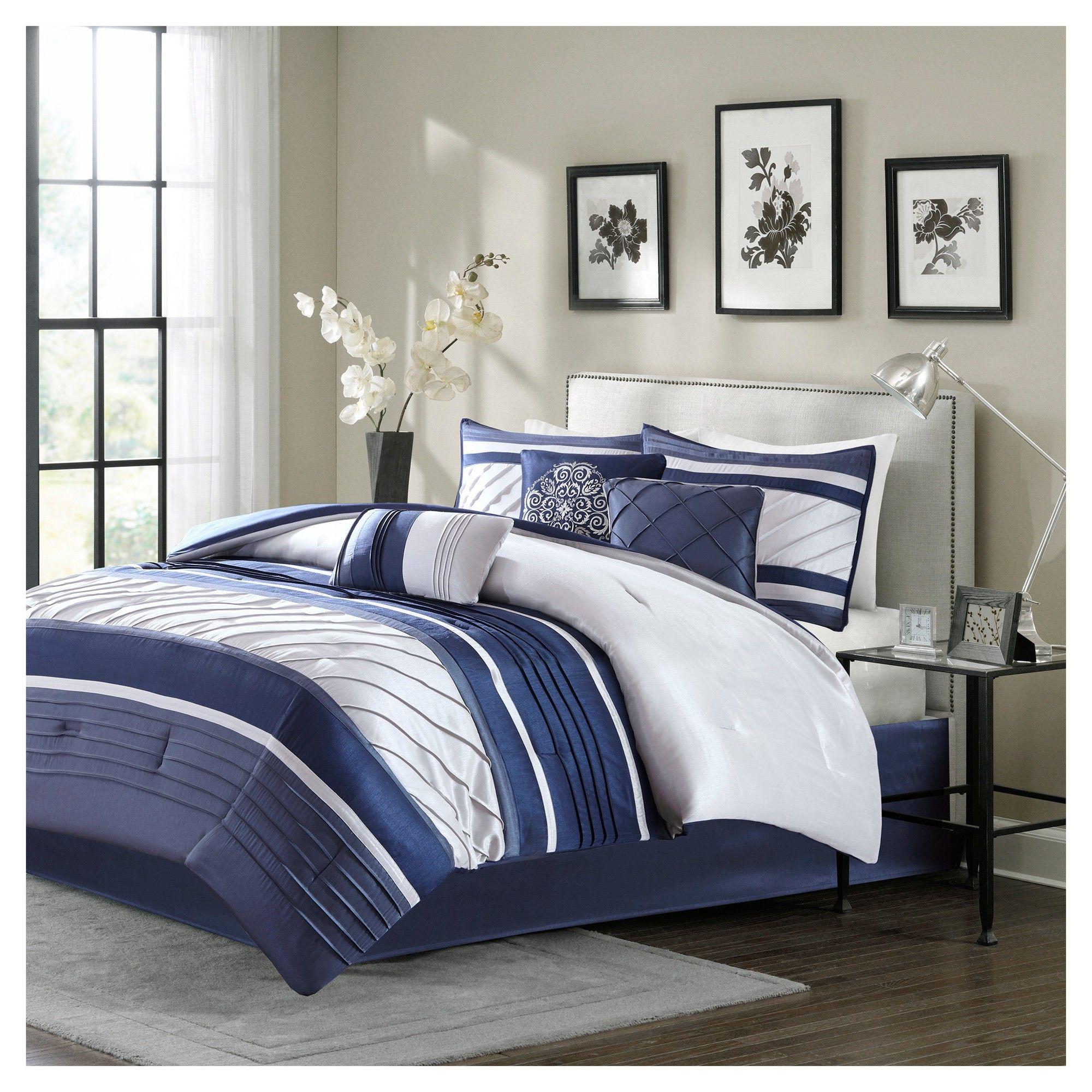 Navy Comforter Set California King 7pc, Blue