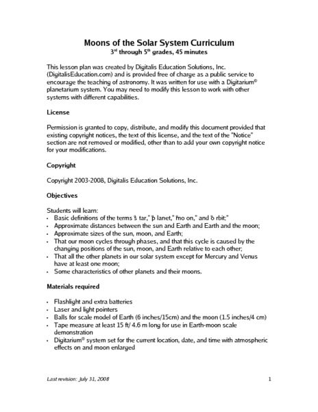 Moons Of The Solar System Lesson Plan Lesson Planet Teaching is
