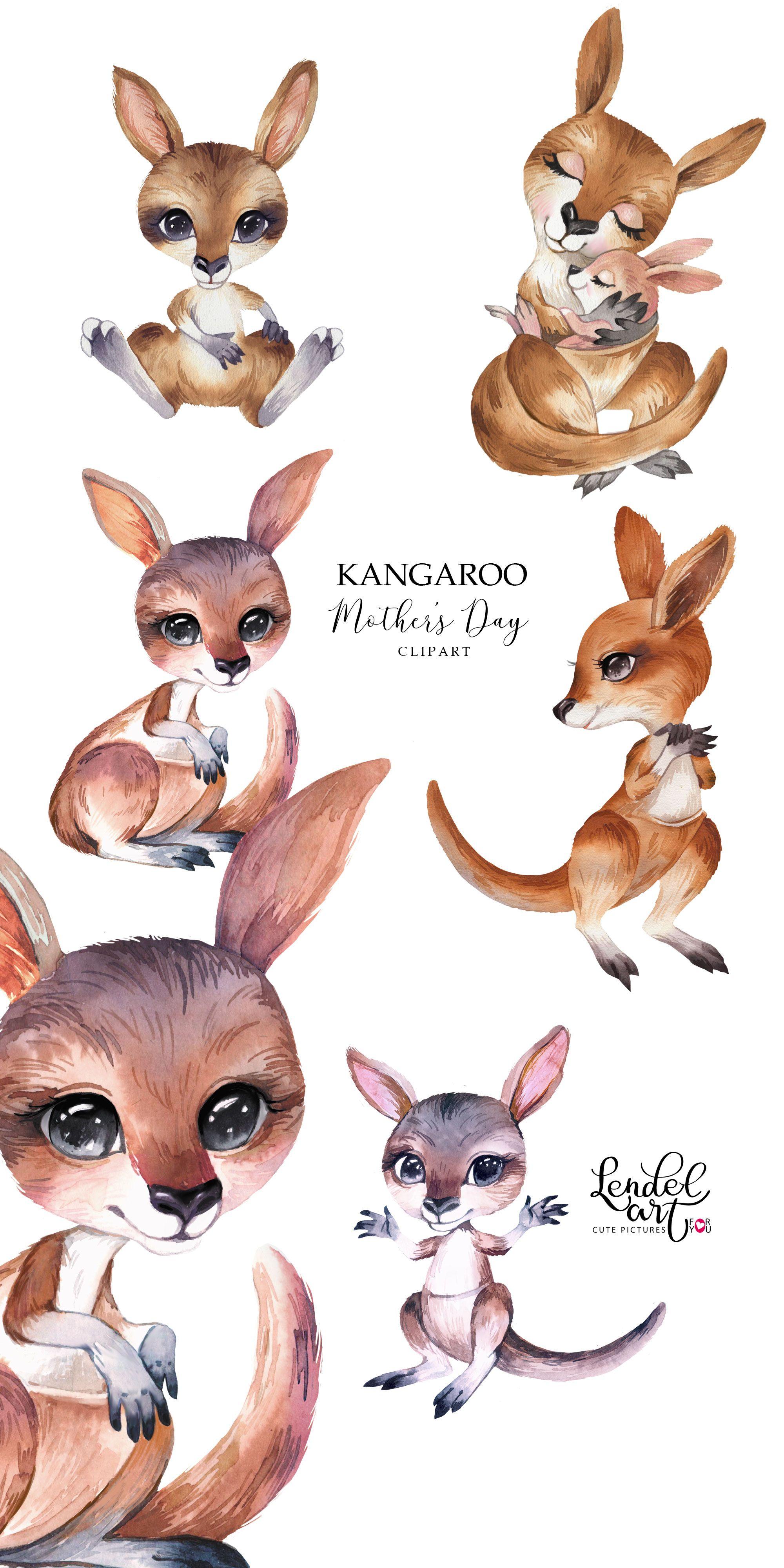 Mothers Day Clipart Kangaroo Clipart Watercolor Mom And Etsy Animal Clipart Kangaroo Drawing Animals