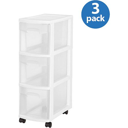 Sterilite 3 Drawer Narrow Cart White Walmart Com Sterilite Storage Cart With Drawers Drawers