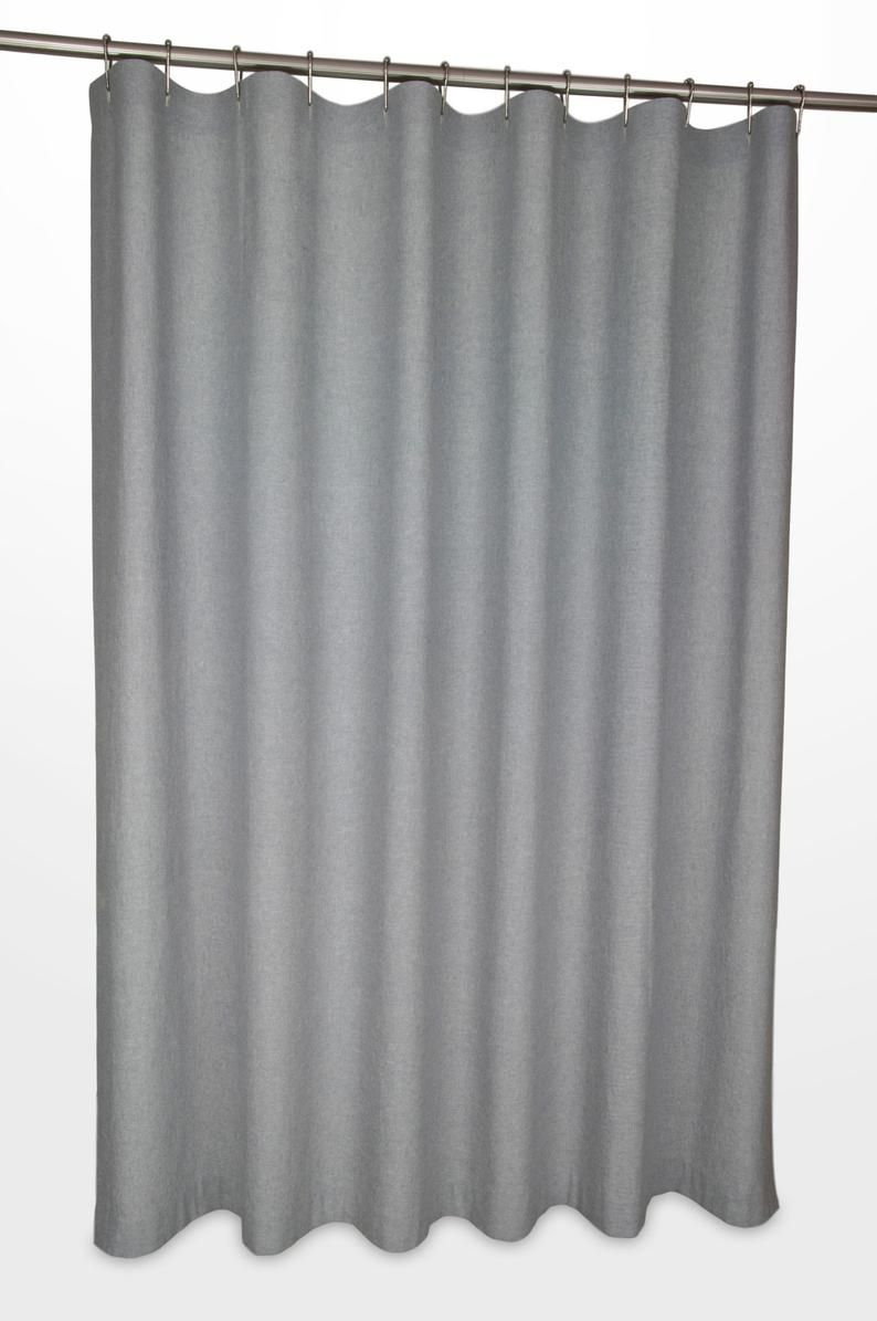 Grey Linen Shower Curtain 72 Wide Extra Long Sizes