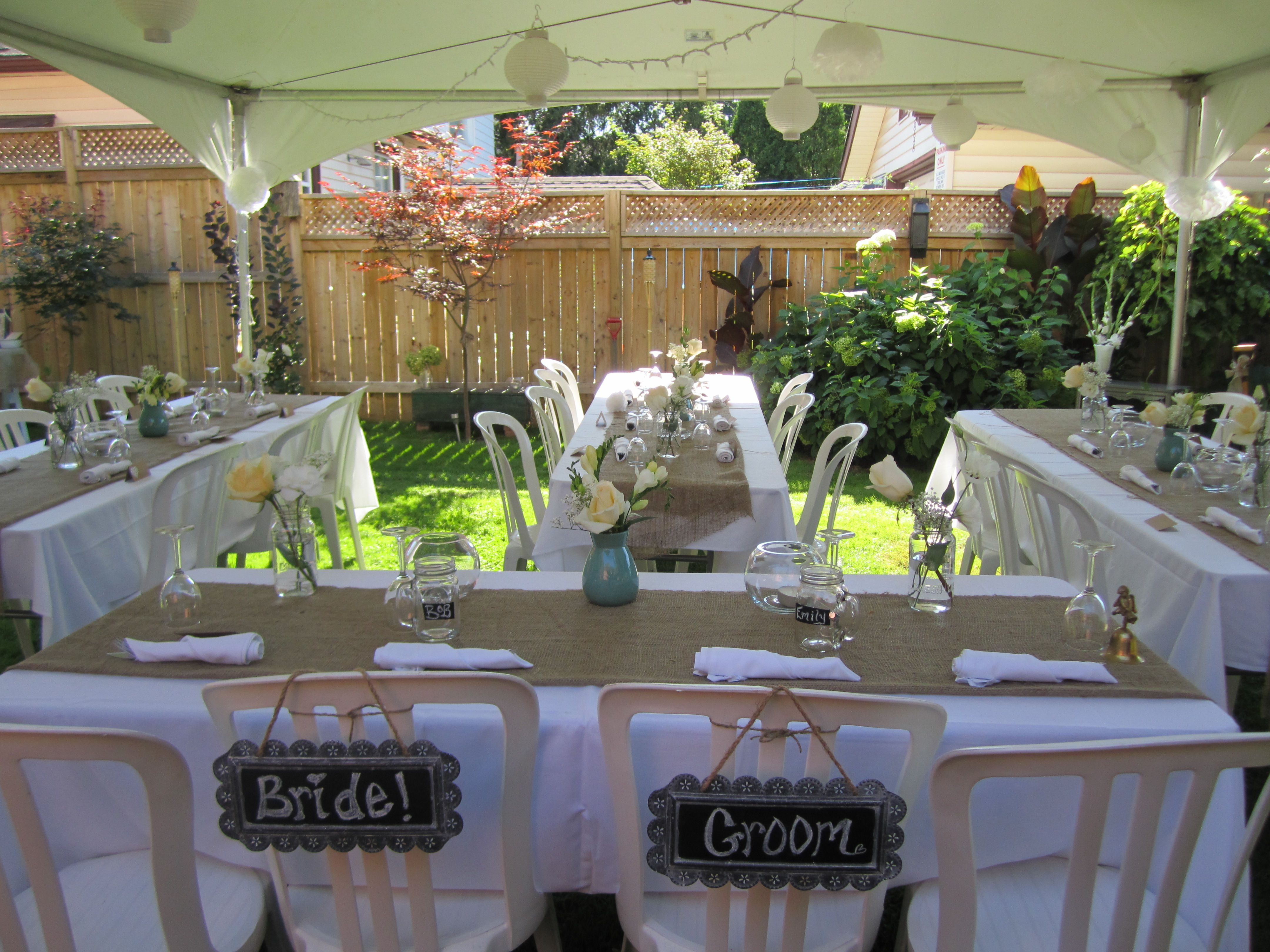 small, simple, backyard wedding. Hints Oh help. Find a ...