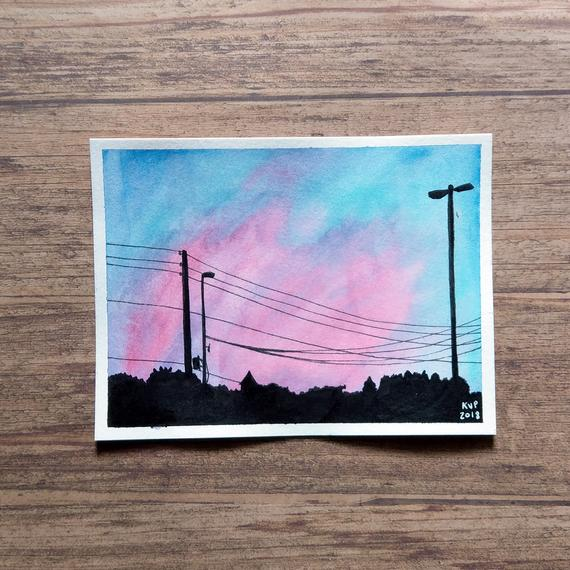 Drug Store Sunrise - Sunset Silhouette - Watercolor And Ink Original Art - Nostalgic Aesthetic - Shillington, PA
