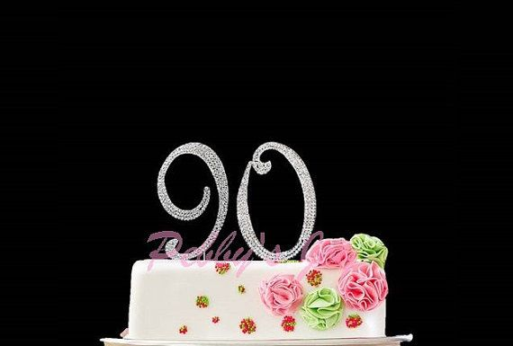 Number 90 Rhinestone Cake Topper 90th Birthday Silver Crystal FREE Fast Shipping To US