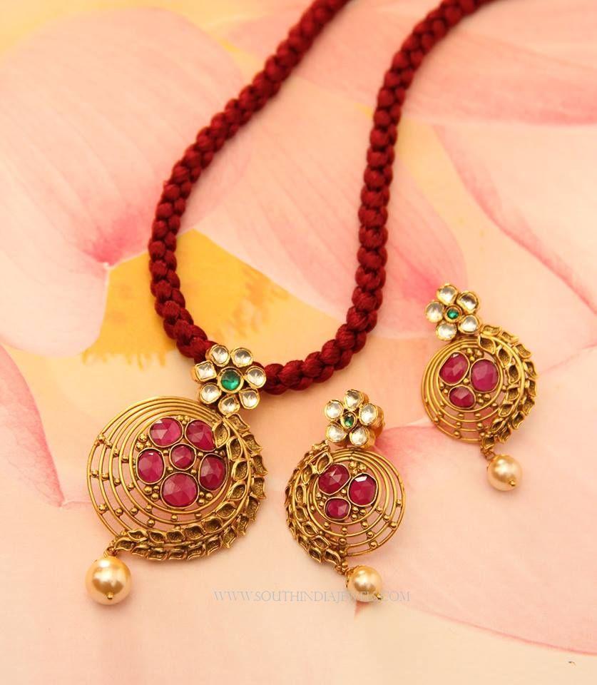 Gold pendant set from manubhai jewellers pinterest