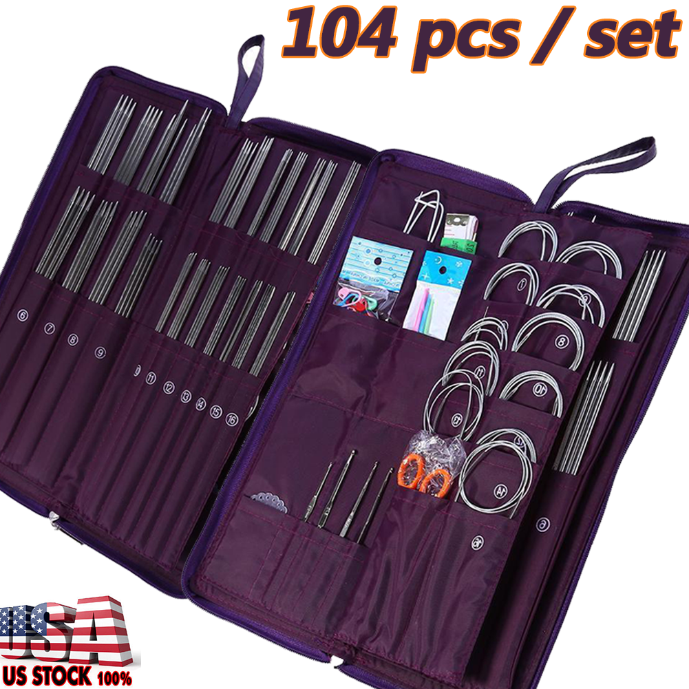 11 Pcs//Set Stainless Steel Circular Knitting Needles Crochet Hook Weave Set