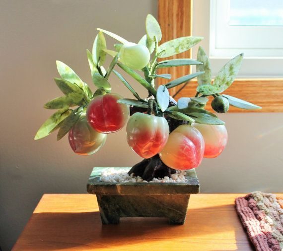 Vintage Chinese Jade And Hardstone Bonsai Peach Tree