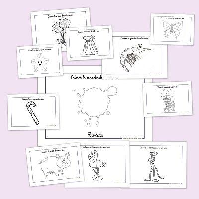 Recursos para el aula: Fichas para trabajar el color rosa | Colorear ...