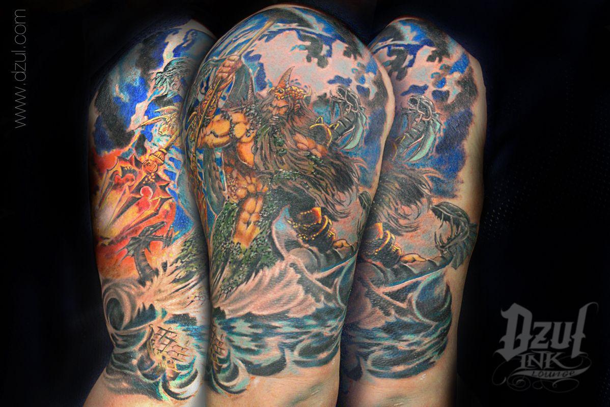 Massive Color Half Sleeve Poseidon Water Tattoo Jacob