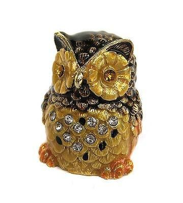 Russian Thimble Collectible Enamel Owl.