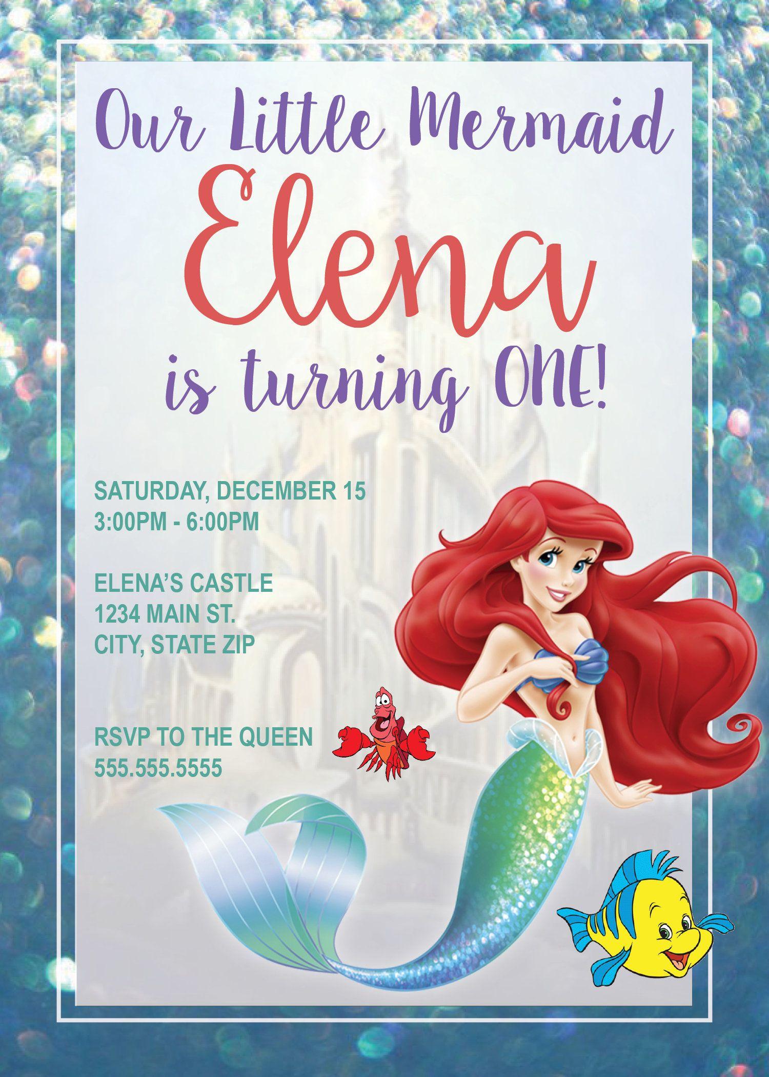 DIGITAL* Princess Ariel/The Little Mermaid Birthday Party Invitation ...