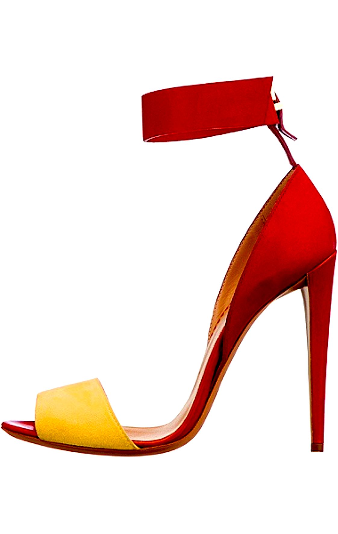Heat things up with these red and yellow colour block, Emporio Armani heels.  Perfect for summer with a printed dress.