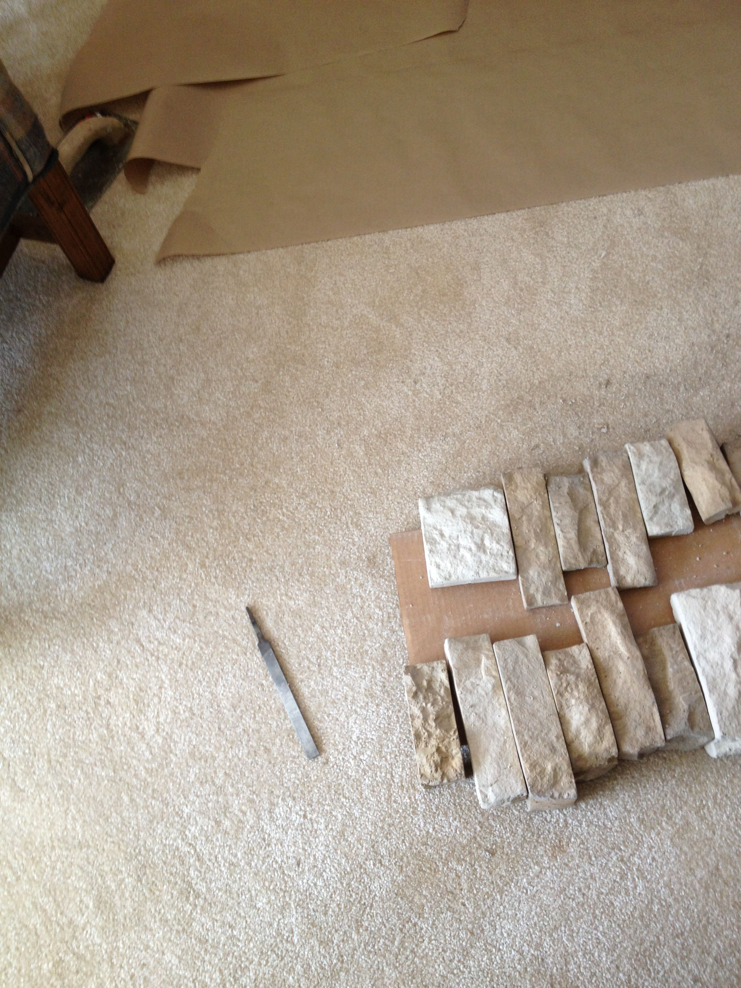 airstone pattern laid out for the interior corners of the