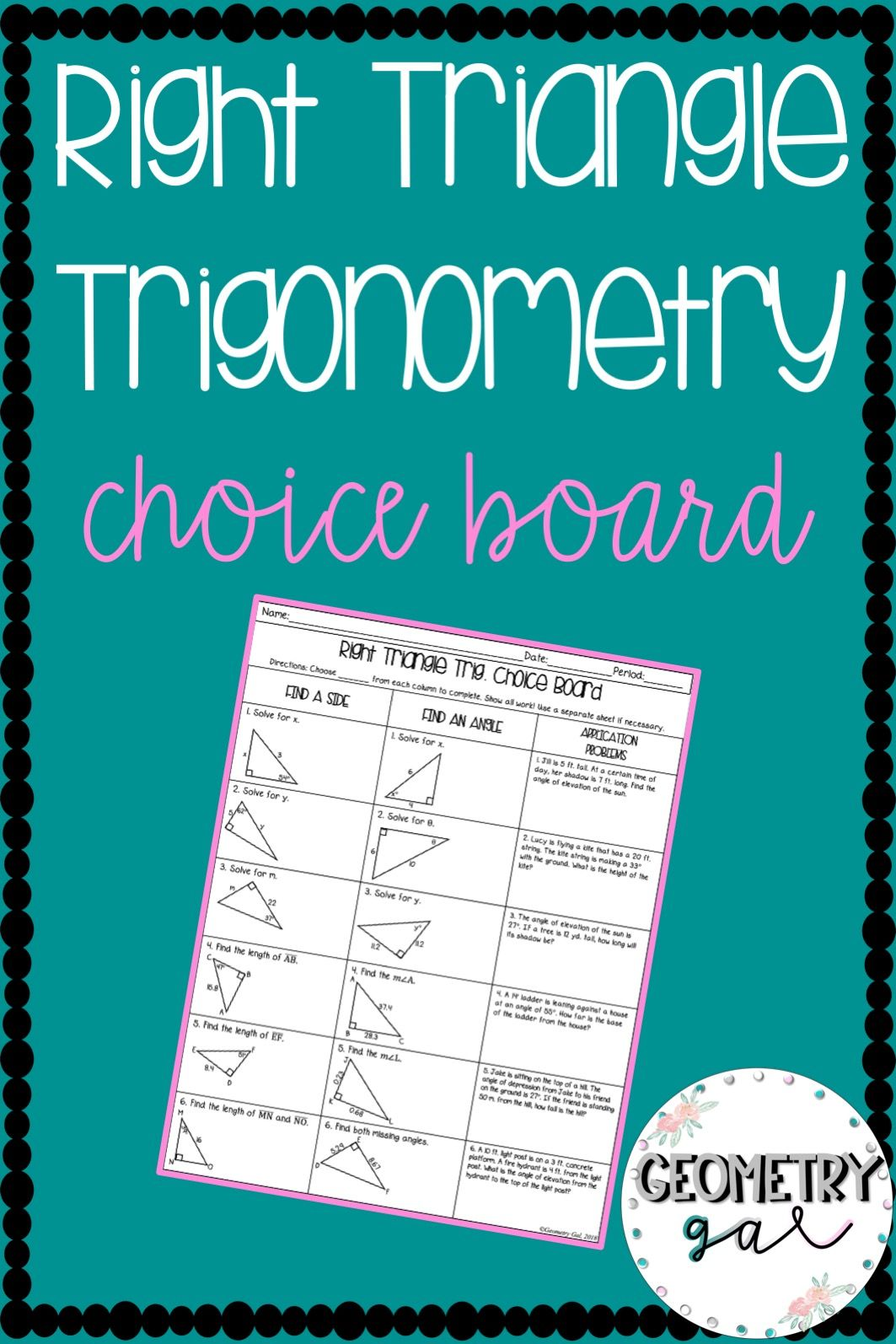 Right Triangle Trigonometry Choice Board
