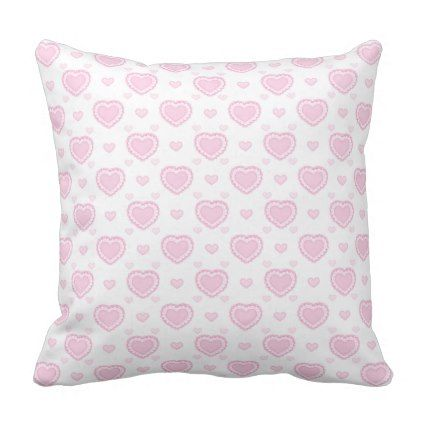 Romantic Pink & White Hearts Throw Pillow - girly gift gifts ideas cyo diy special unique