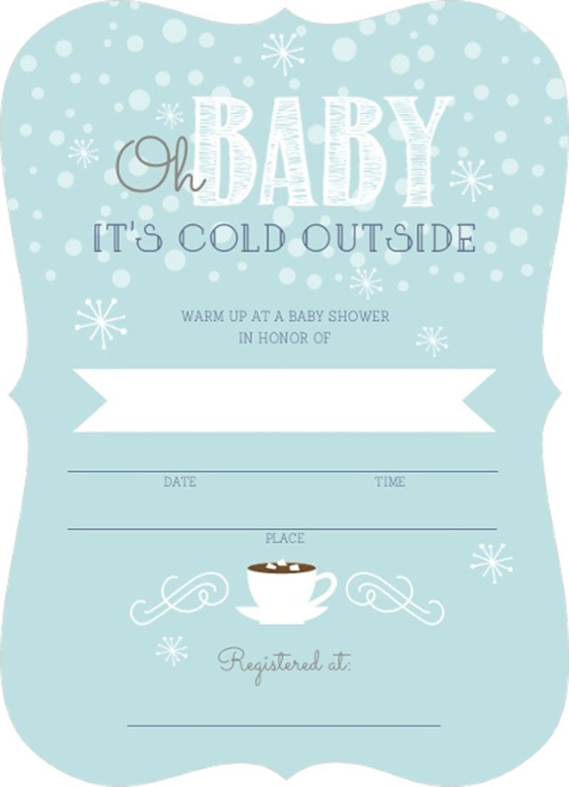 Stunning Cold Outside Winter Fill In Blank Baby Shower Invitation ...