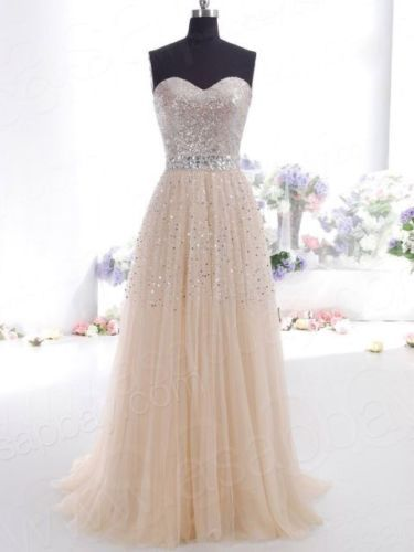 Champagne Prom Dresses Long Evening Party Formal Gowns Size 4 6 8 10 ...