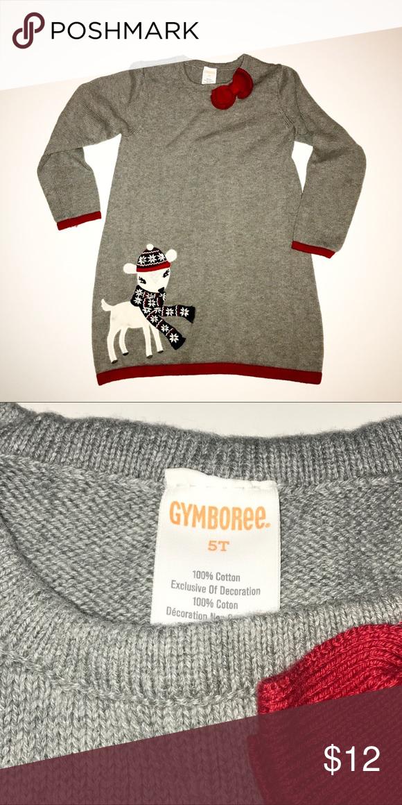 e4c362f56ba Girls holiday sweater dress Girls holiday sweater dress with reindeer detail