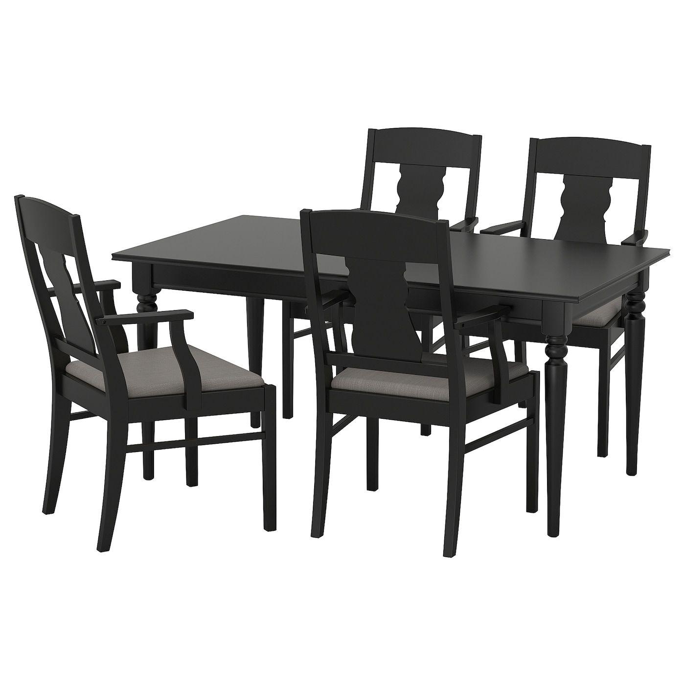 Ingatorp Tisch Und 4 Stuhle Schwarz Stuhl Polsterstoff Stuhl