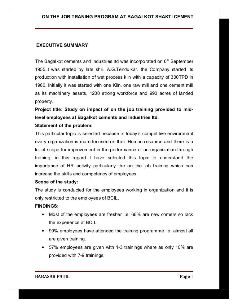 On the job traning program @ bagalkot shakti cement project report - executive summary format for project report
