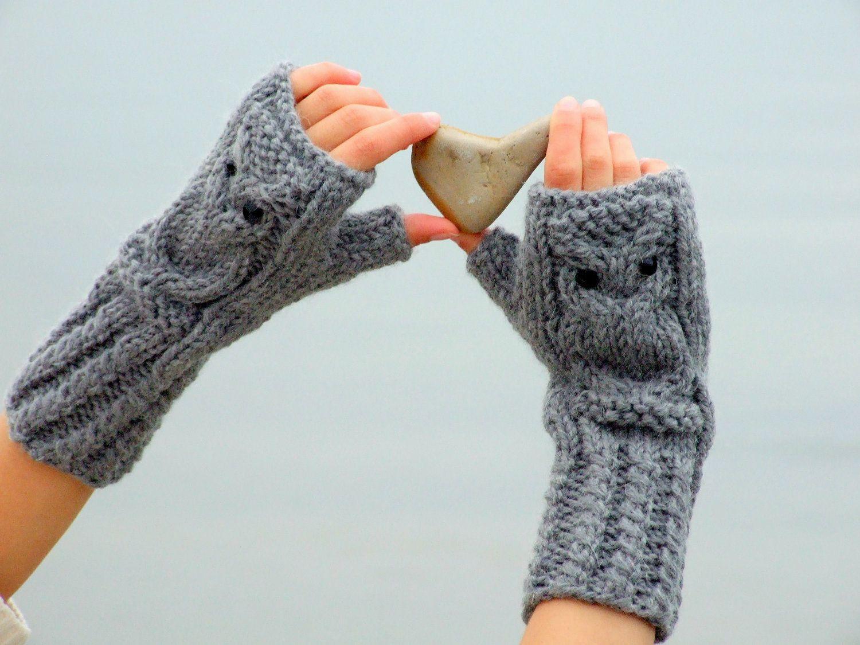 Owl fingerless gloves in gray. $39.00, via Etsy.   Knitting and ...