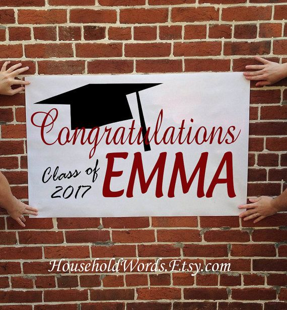 custom name graduation party banner class of by householdwords