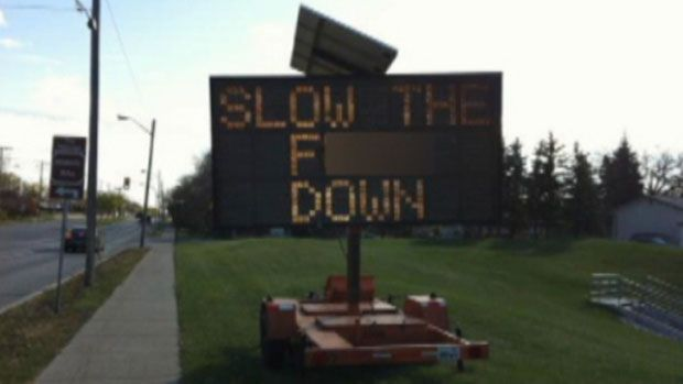 Hacked road sign in my city this weekend. :)