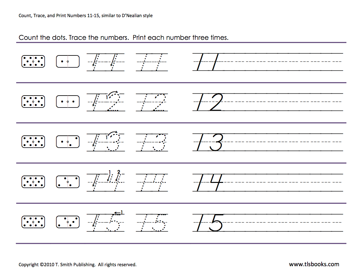 Numbers tracing 1115 Homeschooling Number Tracing – Number 15 Worksheet