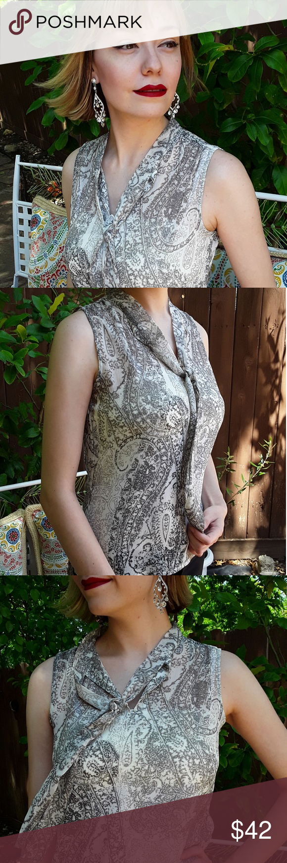 5aed8f08b81a Tommy Hilfiger Paisely Printed Top Sheer and tasteful sleeveless grey  paisley print. Tie front blouse