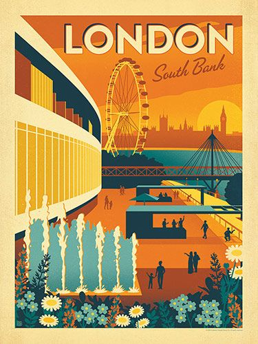 England: London's South Bank - Our most adventruous series of classic travel poster art is called the World Travel Poster Collection. We were inspired by vintage travel prints from the Golden Age of Poster Design (a glorious period spanning the late-1800s to the mid-1900s.) This print was originally created by Anderson Design Group to promote London's South Bank. Now a special version of it is available for everyone who has a cherished memory of time on the Thames.