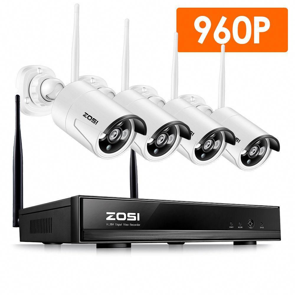 Zosi 4 Channel 960p Nvr Security Camera System With 4 Wireless Bullet Cameras Securitycame Security Camera System Wireless Home Security Home Security Systems